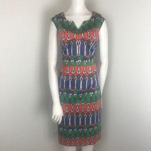 Boden Blue & Orange Geometric Print Sheath Dress